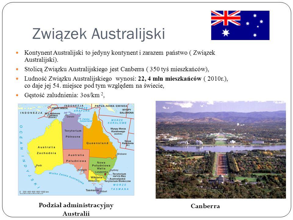 Związek Australijski Kontynent Australijski to jedyny kontynent i zarazem państwo ( Związek Australijski). Stolicą Związku Australijskiego jest Canber
