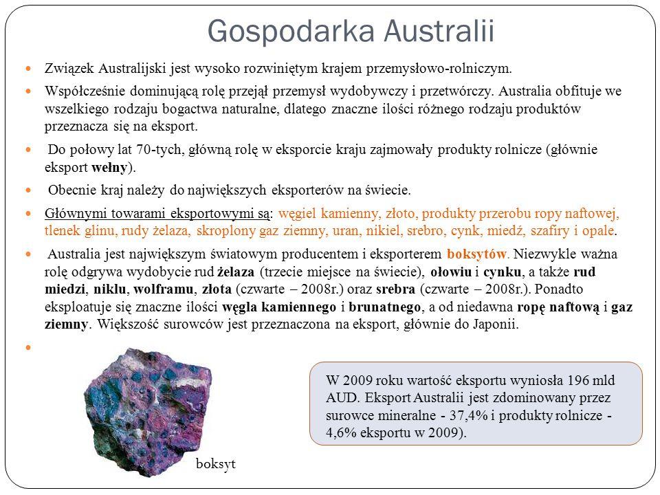 Gospodarka Australii Związek Australijski jest wysoko rozwiniętym krajem przemysłowo-rolniczym.
