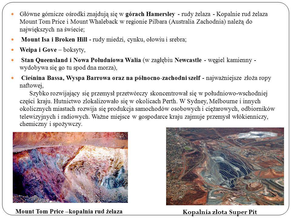 Główne górnicze ośrodki znajdują się w górach Hamersley - rudy żelaza - Kopalnie rud żelaza Mount Tom Price i Mount Whaleback w regionie Pilbara (Australia Zachodnia) należą do największych na świecie; Mount Isa i Broken Hill - rudy miedzi, cynku, ołowiu i srebra; Weipa i Gove – boksyty, Stan Queensland i Nowa Południowa Walia (w zagłębiu Newcastle - węgiel kamienny - wydobywa się go tu spod dna morza), Cieśnina Bassa, Wyspa Barrowa oraz na północno-zachodni szelf - najważniejsze złoża ropy naftowej, Szybko rozwijający się przemysł przetwórczy skoncentrował się w południowo-wschodniej części kraju.