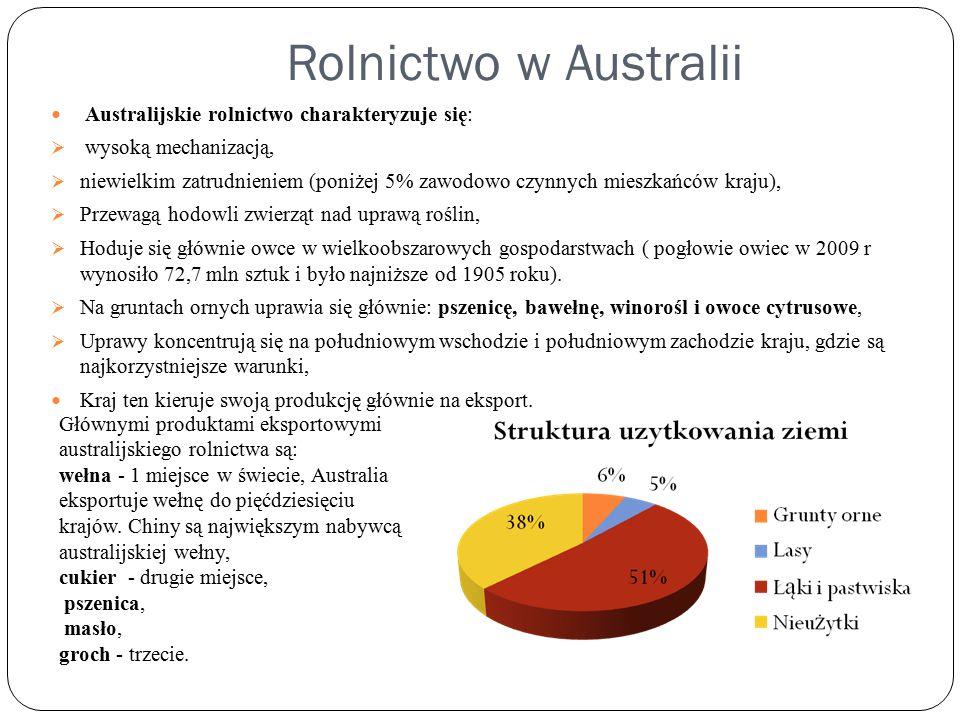 Rolnictwo w Australii Australijskie rolnictwo charakteryzuje się:  wysoką mechanizacją,  niewielkim zatrudnieniem (poniżej 5% zawodowo czynnych mieszkańców kraju),  Przewagą hodowli zwierząt nad uprawą roślin,  Hoduje się głównie owce w wielkoobszarowych gospodarstwach ( pogłowie owiec w 2009 r wynosiło 72,7 mln sztuk i było najniższe od 1905 roku).