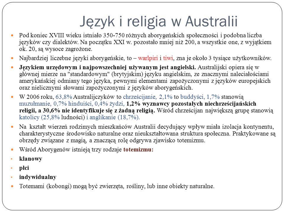 Język i religia w Australii Pod koniec XVIII wieku istniało 350-750 różnych aborygeńskich społeczności i podobna liczba języków czy dialektów. Na pocz