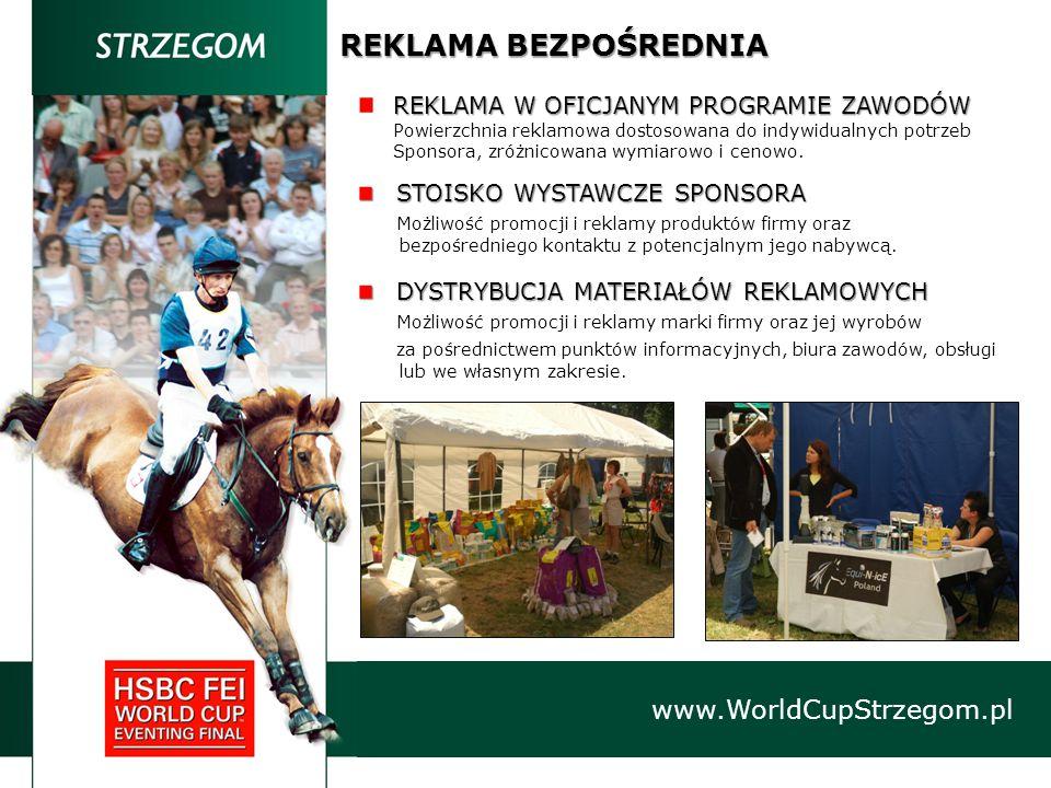 REKLAMA BEZPOŚREDNIA www.WorldCupStrzegom.pl REKLAMA W OFICJANYM PROGRAMIE ZAWODÓW Powierzchnia reklamowa dostosowana do indywidualnych potrzeb Sponsora, zróżnicowana wymiarowo i cenowo.