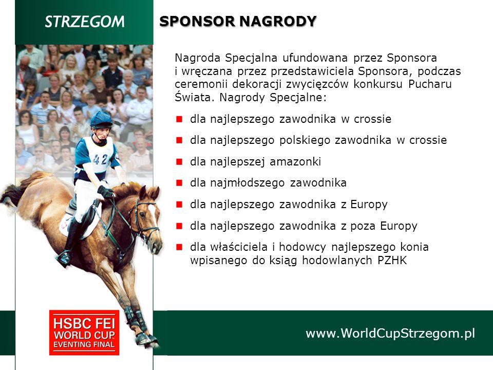 SPONSOR NAGRODY www.WorldCupStrzegom.pl Nagroda Specjalna ufundowana przez Sponsora i wręczana przez przedstawiciela Sponsora, podczas ceremonii dekoracji zwycięzców konkursu Pucharu Świata.
