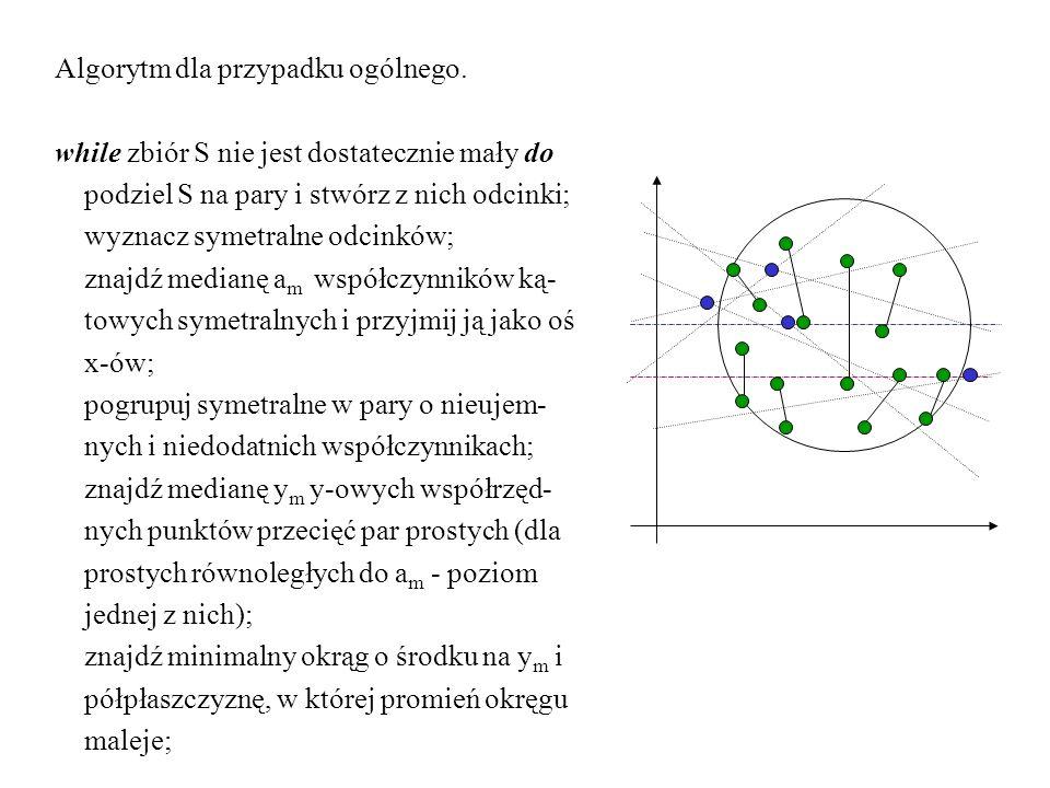 Algorytm dla przypadku ogólnego. while zbiór S nie jest dostatecznie mały do podziel S na pary i stwórz z nich odcinki; wyznacz symetralne odcinków; z