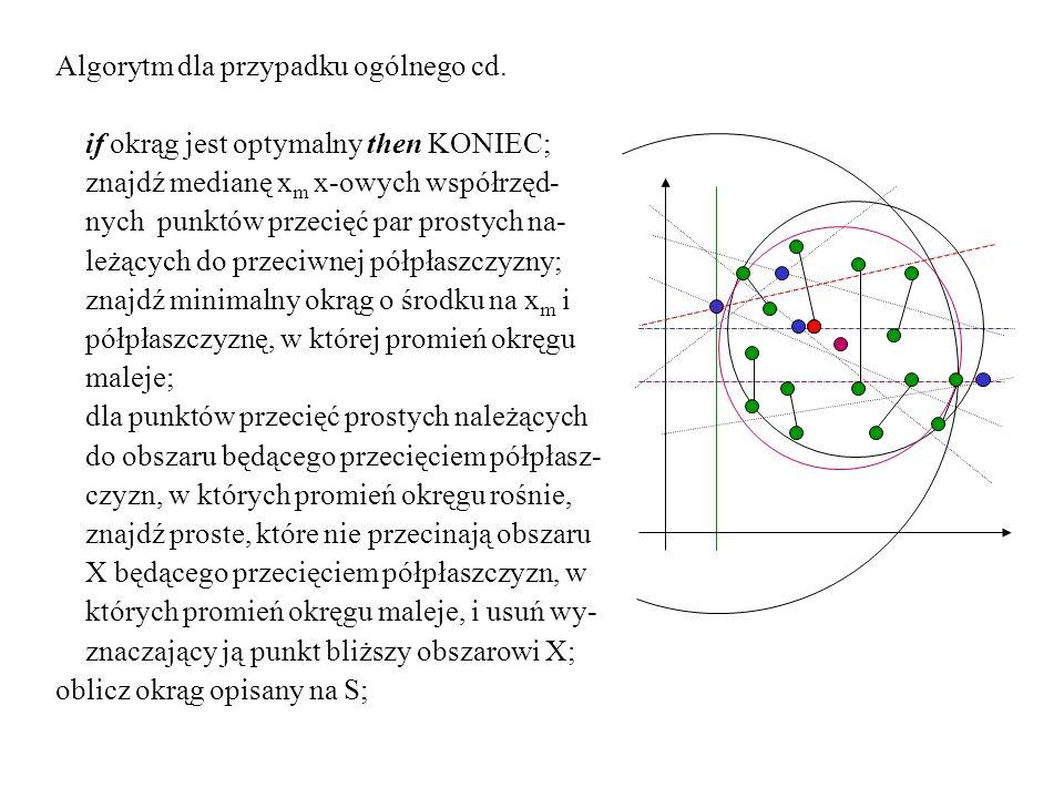 Algorytm dla przypadku ogólnego cd. if okrąg jest optymalny then KONIEC; znajdź medianę x m x-owych współrzęd- nych punktów przecięć par prostych na-