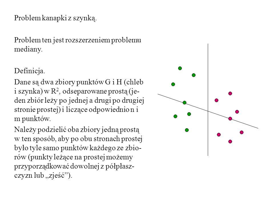 Problem kanapki z szynką. Problem ten jest rozszerzeniem problemu mediany. Definicja. Dane są dwa zbiory punktów G i H (chleb i szynka) w R 2, odsepar