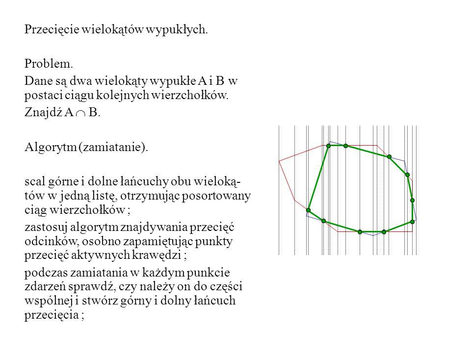 Przecięcie wielokątów wypukłych. Problem. Dane są dwa wielokąty wypukłe A i B w postaci ciągu kolejnych wierzchołków. Znajdź A  B. Algorytm (zamiatan