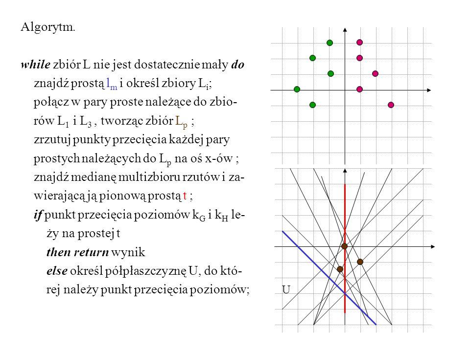 Algorytm. while zbiór L nie jest dostatecznie mały do znajdź prostą l m i określ zbiory L i ; połącz w pary proste należące do zbio- rów L 1 i L 3, tw