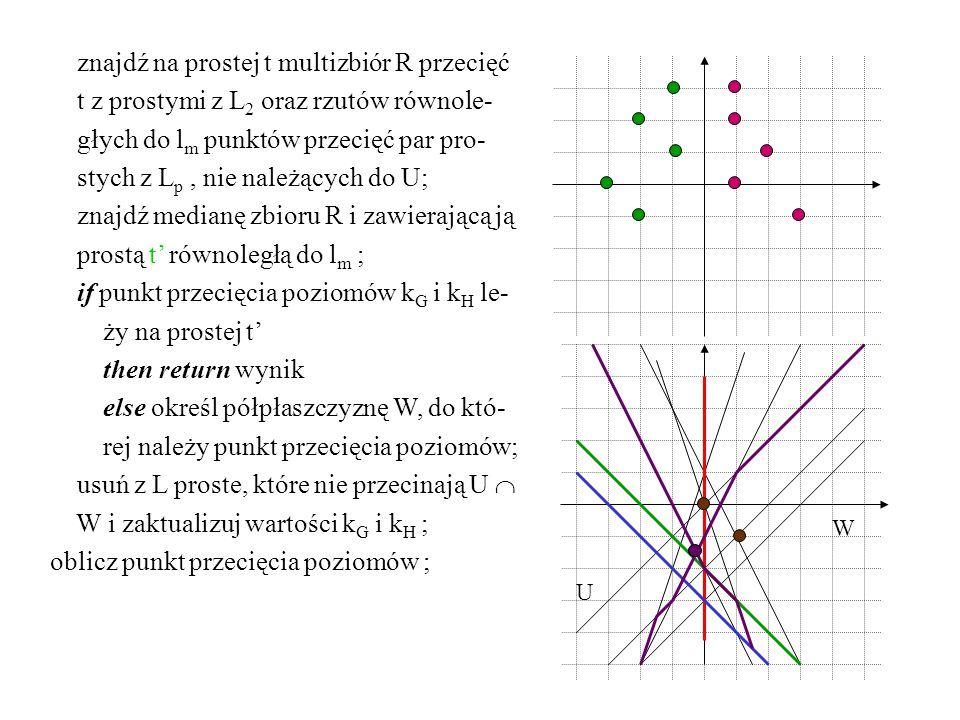znajdź na prostej t multizbiór R przecięć t z prostymi z L 2 oraz rzutów równole- głych do l m punktów przecięć par pro- stych z L p, nie należących d