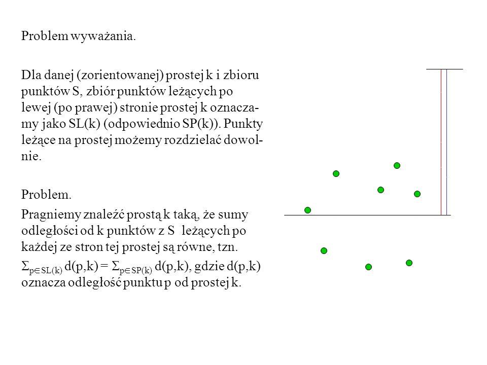 Problem wyważania. Dla danej (zorientowanej) prostej k i zbioru punktów S, zbiór punktów leżących po lewej (po prawej) stronie prostej k oznacza- my j