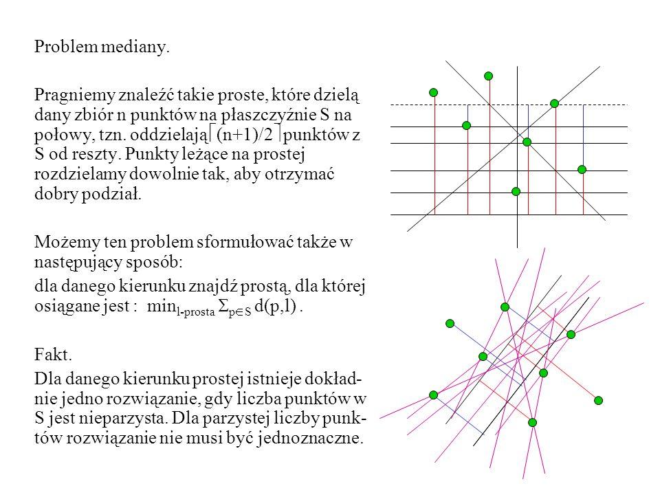 Problem mediany. Pragniemy znaleźć takie proste, które dzielą dany zbiór n punktów na płaszczyźnie S na połowy, tzn. oddzielają  (n+1)/2  punktów z