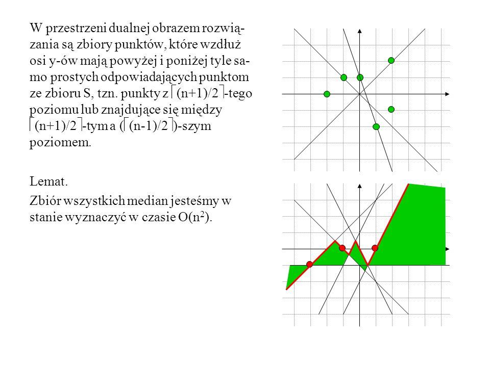 Algorytm while zbiór S nie jest dostatecznie mały do pogrupuj punkty ze zbioru S w pary; znajdź zbiór P przecięć symetralnych od- cinków tworzonych przez pary z prostą k; wyznacz medianę m zbioru P; oblicz minimalny promień okręgu o środ- ku w m zawierającego zbiór S i znajdź wyznaczające go punkty z S; if rzuty prostopadłe tych punktów na pro- stą k znajdują się po obu stronach m then return znaleziony okrąg else usuń z S punkty będące bliższymi m końcami odcinków, których sy- metralne przecinają k po przeciw- nej stronie m niż są rzuty; oblicz okrąg opisany na S;
