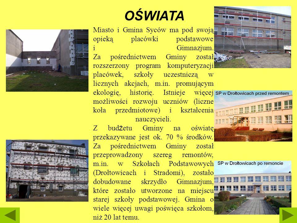 Miasto i Gmina Syców ma pod swoją opieką placówki podstawowe i Gimnazjum. Za pośrednictwem Gminy został rozszerzony program komputeryzacji placówek, s