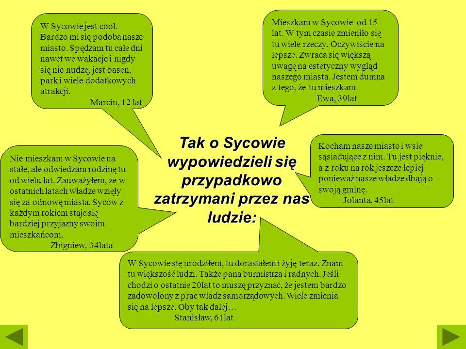 Tak o Sycowie wypowiedzieli się przypadkowo zatrzymani przez nas ludzie: Mieszkam w Sycowie od 15 lat. W tym czasie zmieniło się tu wiele rzeczy. Oczy