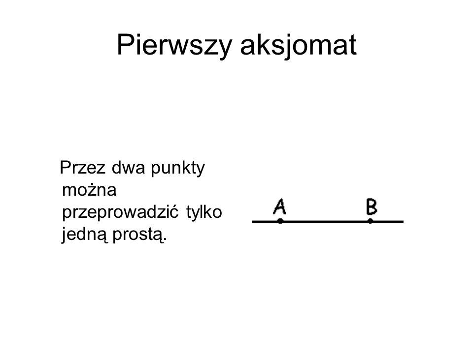Pierwszy aksjomat Przez dwa punkty można przeprowadzić tylko jedną prostą.