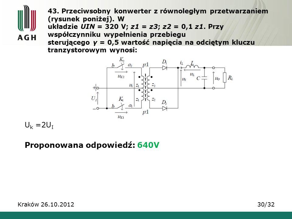 43. Przeciwsobny konwerter z równoległym przetwarzaniem (rysunek poniżej). W układzie UIN = 320 V; z1 = z3; z2 = 0,1 z1. Przy współczynniku wypełnieni