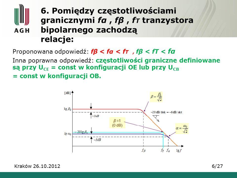 6. Pomiędzy częstotliwościami granicznymi fα, fβ, f T tranzystora bipolarnego zachodzą relacje: Proponowana odpowiedź: fβ < fα < f T, fβ < fT < fα Inn