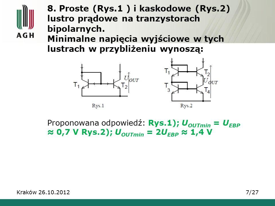 8.Proste (Rys.1 ) i kaskodowe (Rys.2) lustro prądowe na tranzystorach bipolarnych.