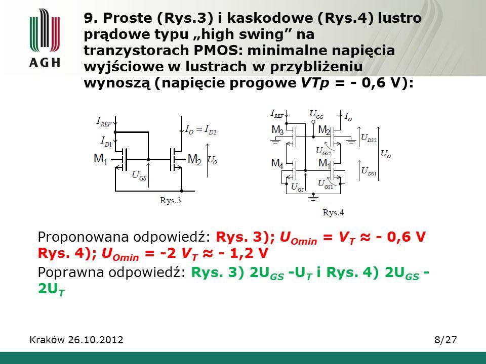 """9. Proste (Rys.3) i kaskodowe (Rys.4) lustro prądowe typu """"high swing"""" na tranzystorach PMOS: minimalne napięcia wyjściowe w lustrach w przybliżeniu w"""