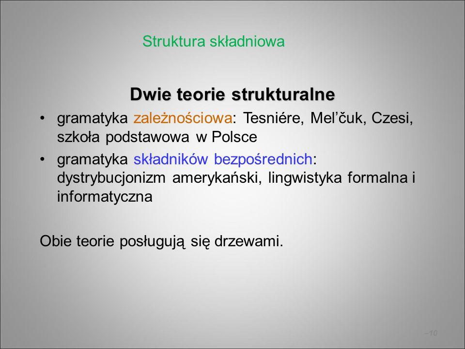 –10 Dwie teorie strukturalne gramatyka zależnościowa: Tesniére, Mel'čuk, Czesi, szkoła podstawowa w Polsce gramatyka składników bezpośrednich: dystryb