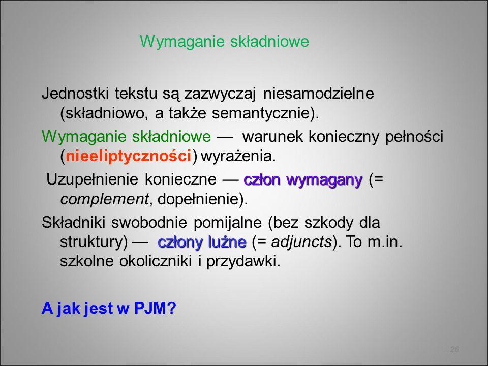 –26 Jednostki tekstu są zazwyczaj niesamodzielne (składniowo, a także semantycznie). Wymaganie składniowe — warunek konieczny pełności (nieeliptycznoś