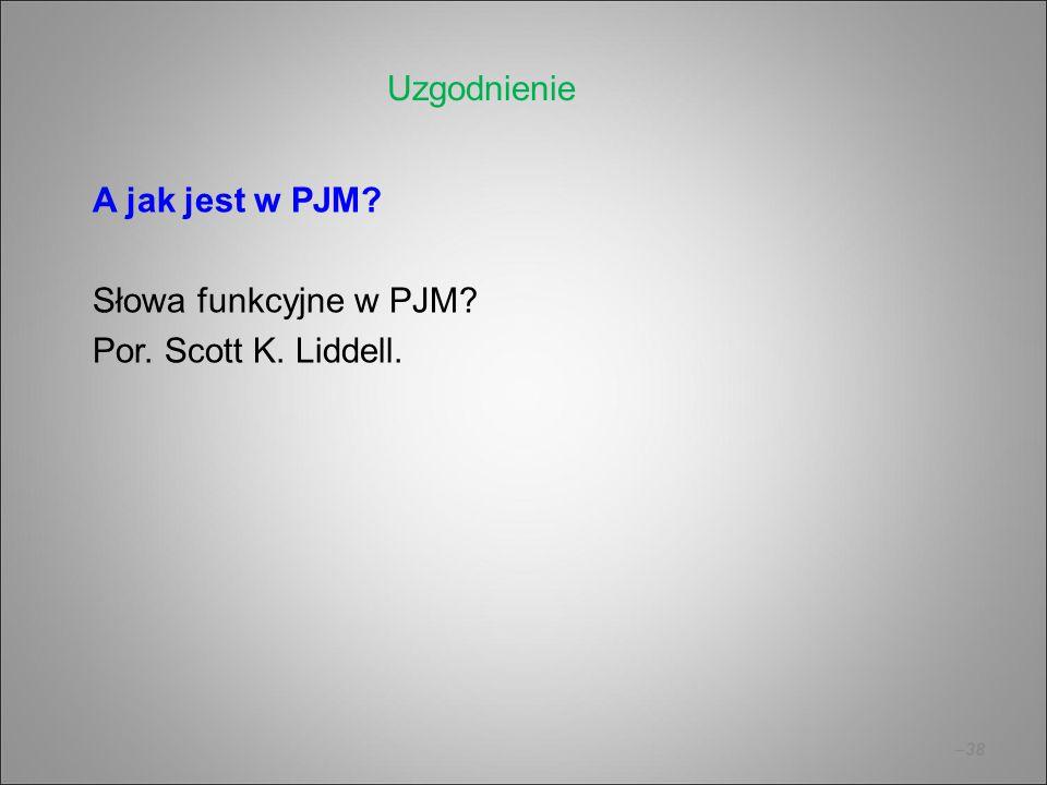 –38 A jak jest w PJM? Słowa funkcyjne w PJM? Por. Scott K. Liddell. Uzgodnienie