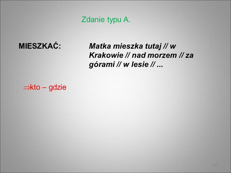 –46 MIESZKAĆ:Matka mieszka tutaj // w Krakowie // nad morzem // za górami // w lesie //... Zdanie typu A.  kto – gdzie