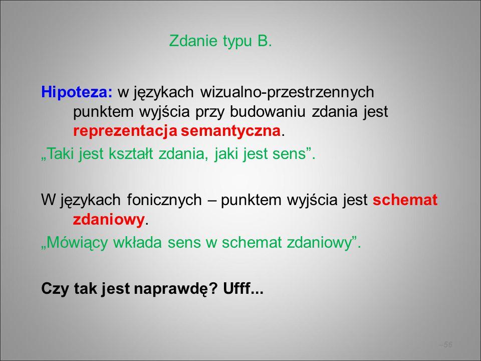 """–56 Hipoteza: w językach wizualno-przestrzennych punktem wyjścia przy budowaniu zdania jest reprezentacja semantyczna. """"Taki jest kształt zdania, jaki"""