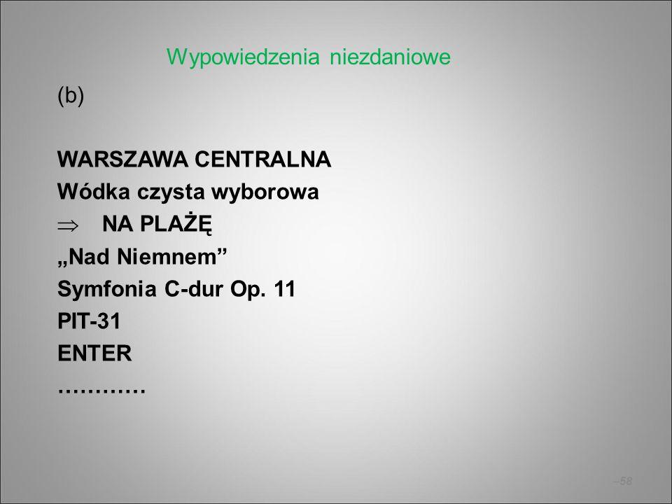 """–58 (b) WARSZAWA CENTRALNA Wódka czysta wyborowa  NA PLAŻĘ """"Nad Niemnem"""" Symfonia C-dur Op. 11 PIT-31 ENTER ………… Wypowiedzenia niezdaniowe"""
