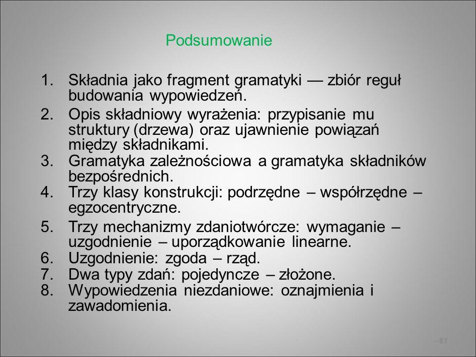 –61 1.Składnia jako fragment gramatyki — zbiór reguł budowania wypowiedzeń. 2.Opis składniowy wyrażenia: przypisanie mu struktury (drzewa) oraz ujawni