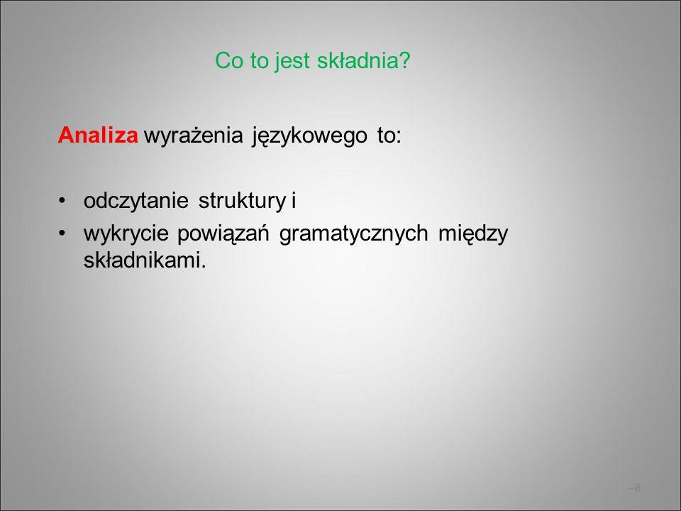 –9–9 Synteza wyrażenia językowego to: stworzenie struktury, dopasowanie do siebie składników i uporzadkowanie linearne.