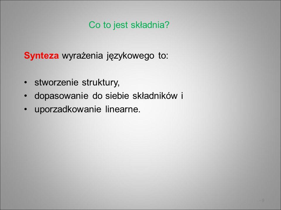 –10 Dwie teorie strukturalne gramatyka zależnościowa: Tesniére, Mel'čuk, Czesi, szkoła podstawowa w Polsce gramatyka składników bezpośrednich: dystrybucjonizm amerykański, lingwistyka formalna i informatyczna Obie teorie posługują się drzewami.