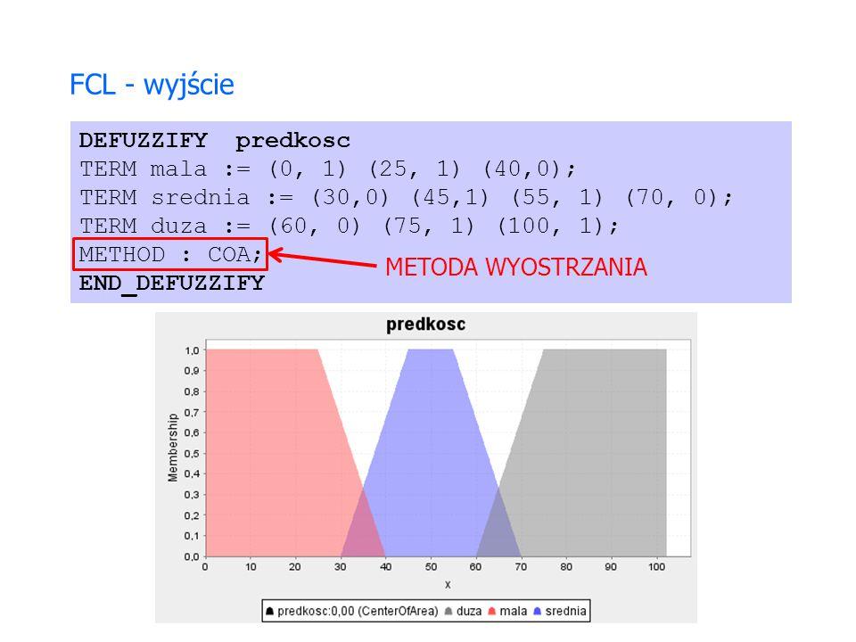 DEFUZZIFY predkosc TERM mala := (0, 1) (25, 1) (40,0); TERM srednia := (30,0) (45,1) (55, 1) (70, 0); TERM duza := (60, 0) (75, 1) (100, 1); METHOD :
