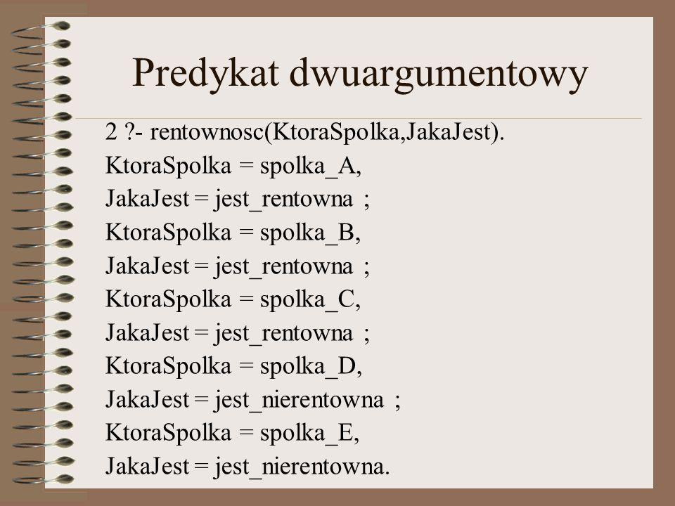 Predykat dwuargumentowy 2 ?- rentownosc(KtoraSpolka,JakaJest).