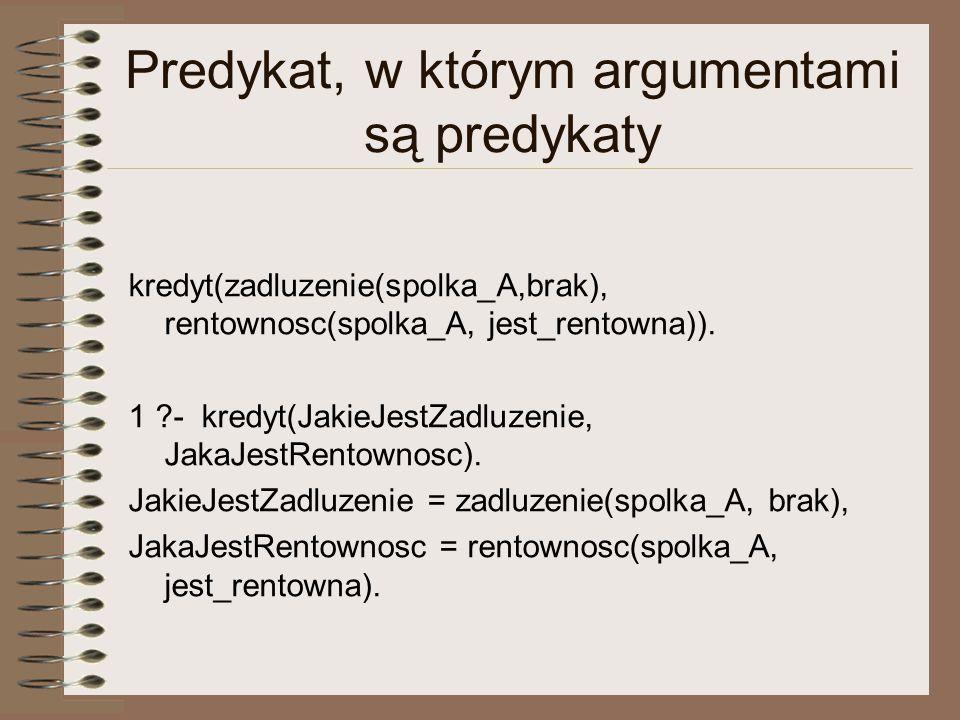 Predykat, w którym argumentami są predykaty kredyt(zadluzenie(spolka_A,brak), rentownosc(spolka_A, jest_rentowna)).
