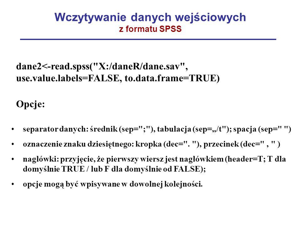 """Wczytywanie danych wejściowych z formatu SPSS dane2<-read.spss( X:/daneR/dane.sav , use.value.labels=FALSE, to.data.frame=TRUE) Opcje: separator danych: średnik (sep= ; ), tabulacja (sep=""""/t ); spacja (sep= ) oznaczenie znaku dziesiętnego: kropka (dec= ."""