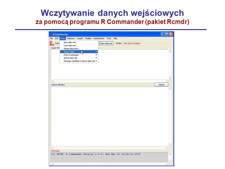 Wczytywanie danych wejściowych za pomocą programu R Commander (pakiet Rcmdr)