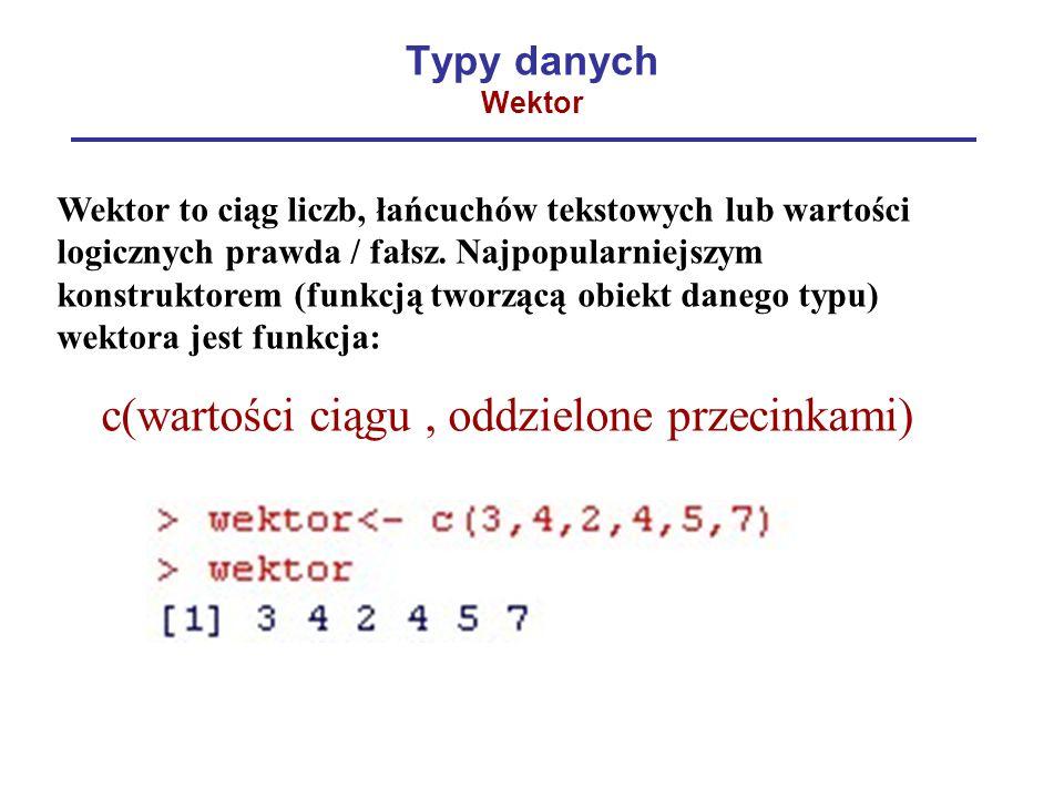 Typy danych Wektor Wektor to ciąg liczb, łańcuchów tekstowych lub wartości logicznych prawda / fałsz. Najpopularniejszym konstruktorem (funkcją tworzą