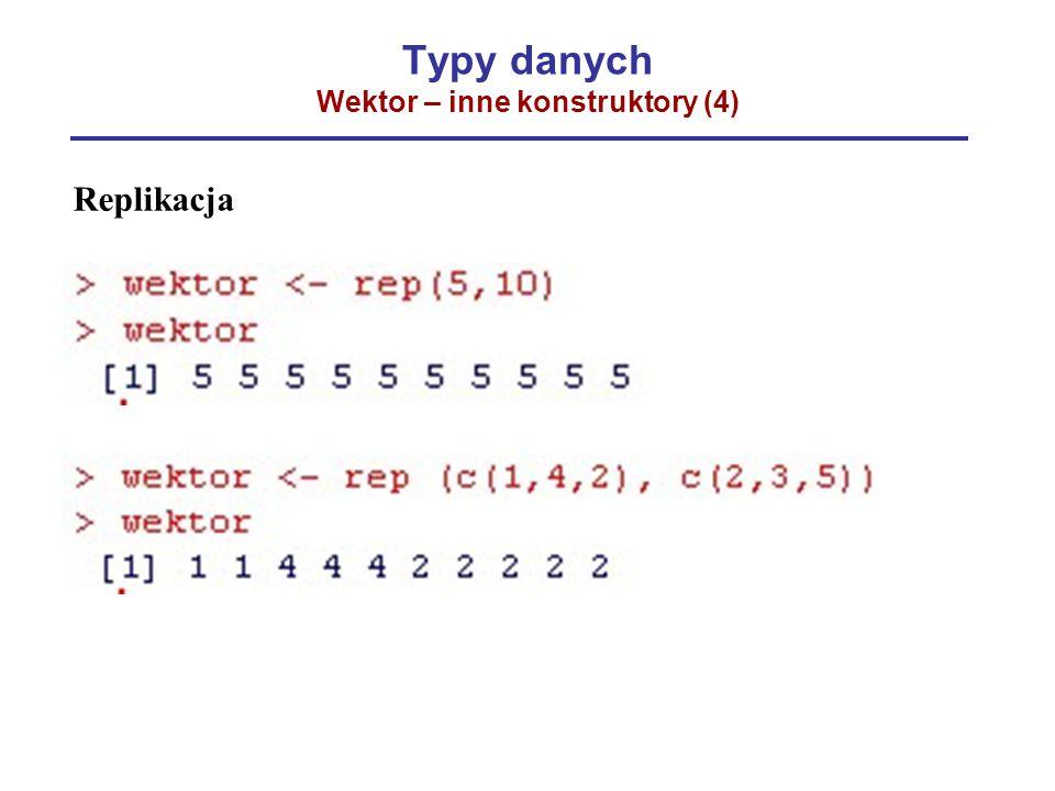 Typy danych Wektor – inne konstruktory (4) Replikacja