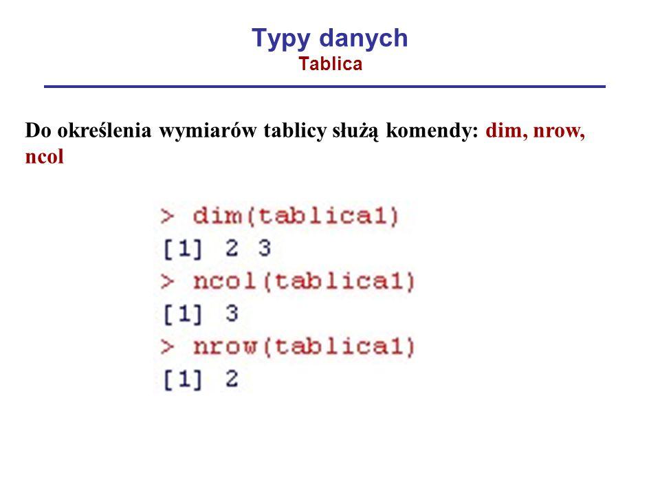 Typy danych Tablica Do określenia wymiarów tablicy służą komendy: dim, nrow, ncol