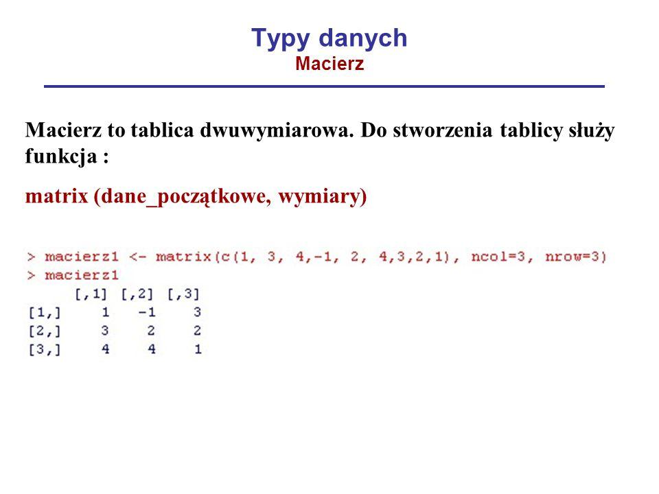 Typy danych Macierz Macierz to tablica dwuwymiarowa. Do stworzenia tablicy służy funkcja : matrix (dane_początkowe, wymiary)