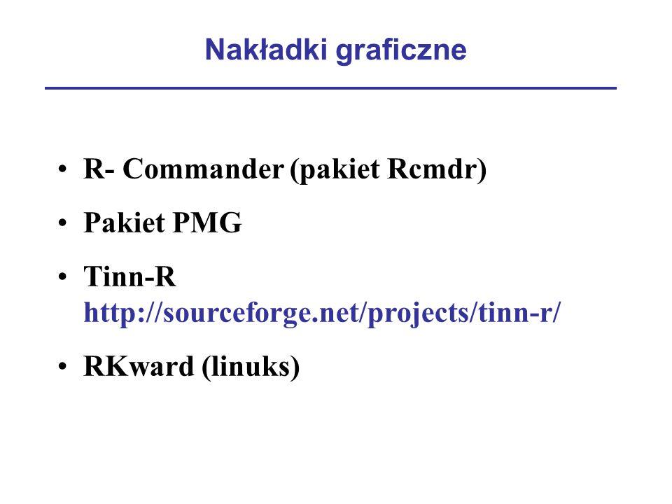 Nakładki graficzne R- Commander (pakiet Rcmdr) Pakiet PMG Tinn-R http://sourceforge.net/projects/tinn-r/ RKward (linuks)