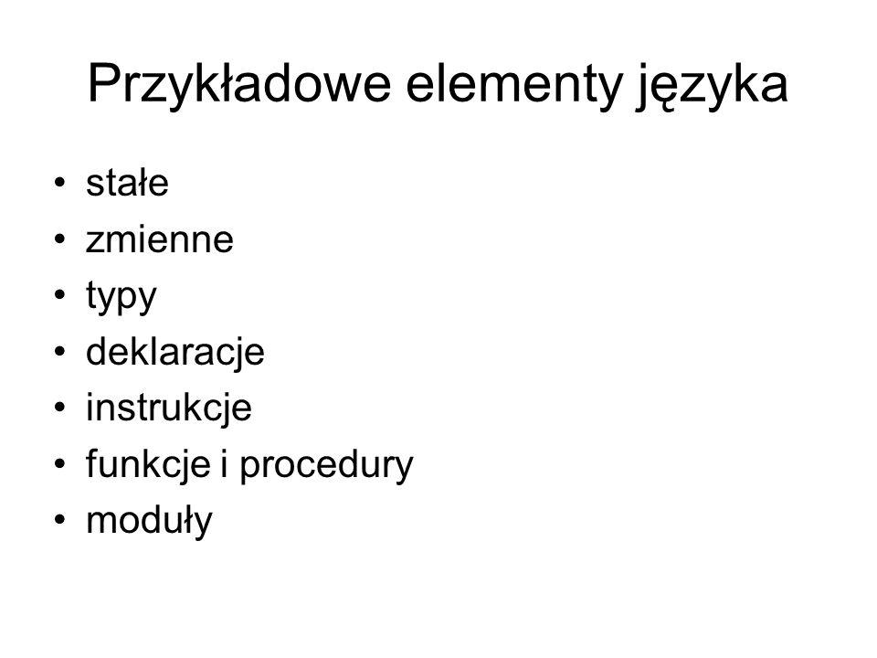 Przykładowe elementy języka stałe zmienne typy deklaracje instrukcje funkcje i procedury moduły