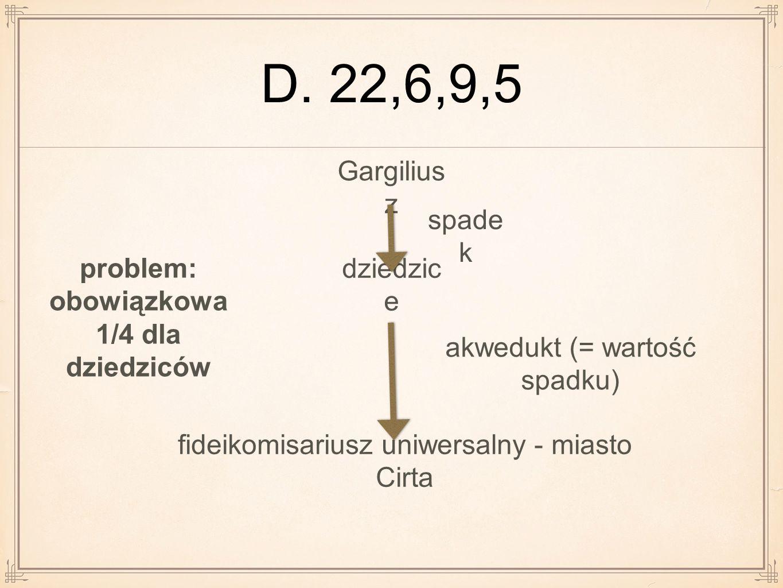 D. 22,6,9,5 Gargilius z dziedzic e fideikomisariusz uniwersalny - miasto Cirta spade k akwedukt (= wartość spadku) problem: obowiązkowa 1/4 dla dziedz