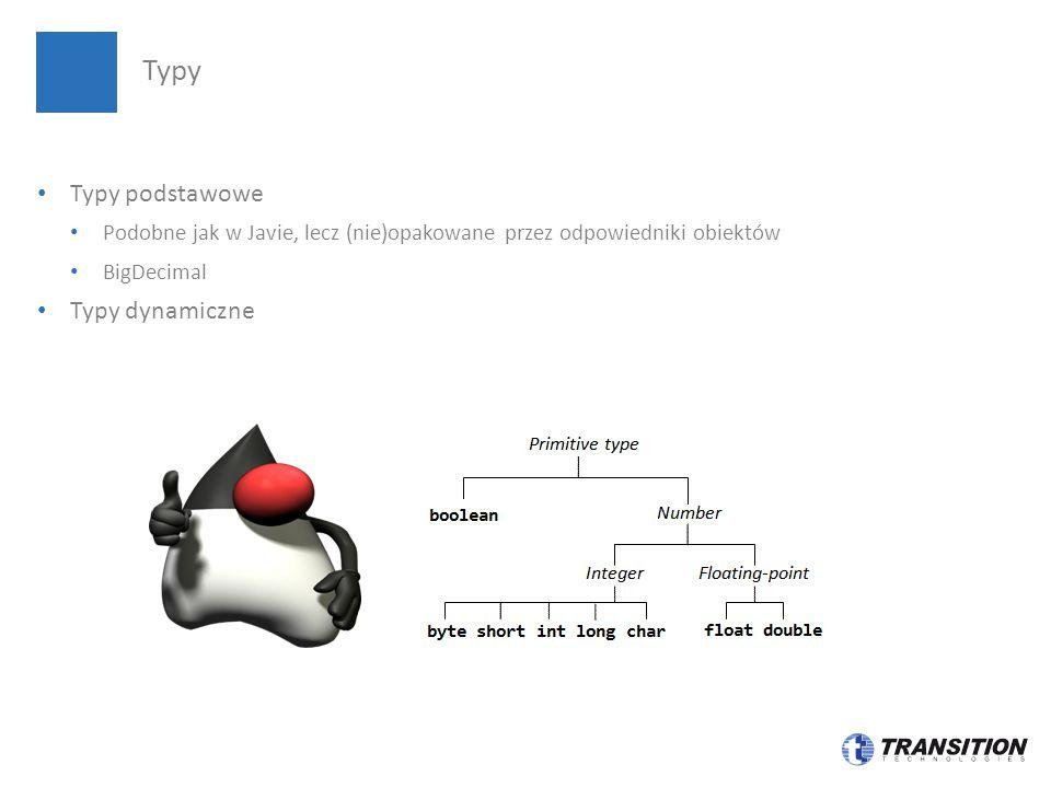 Typy podstawowe Podobne jak w Javie, lecz (nie)opakowane przez odpowiedniki obiektów BigDecimal Typy dynamiczne Typy