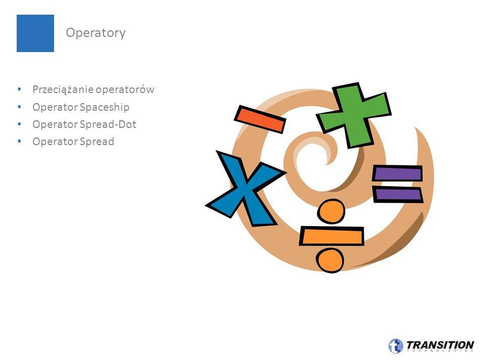 Przeciążanie operatorów Operator Spaceship Operator Spread-Dot Operator Spread Operatory