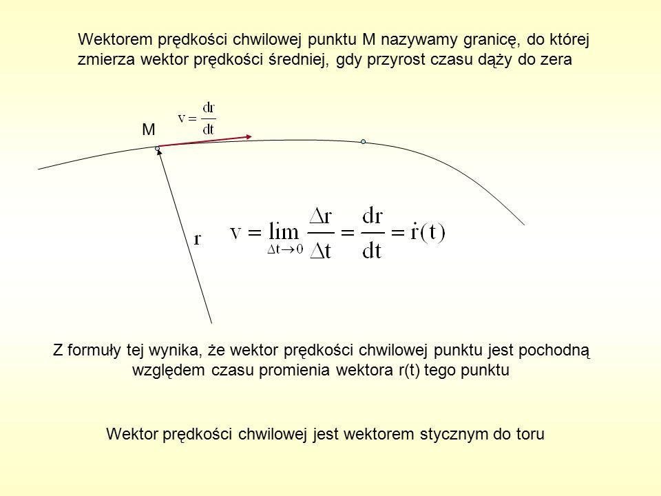 Wektorem prędkości chwilowej punktu M nazywamy granicę, do której zmierza wektor prędkości średniej, gdy przyrost czasu dąży do zera M Z formuły tej wynika, że wektor prędkości chwilowej punktu jest pochodną względem czasu promienia wektora r(t) tego punktu Wektor prędkości chwilowej jest wektorem stycznym do toru