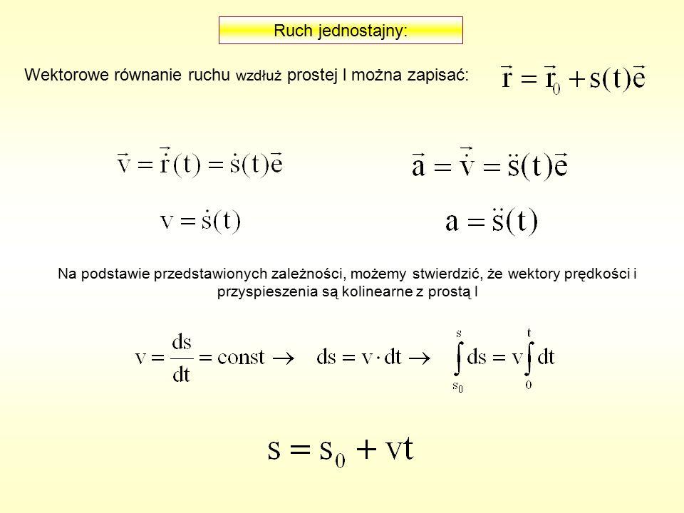Wektorowe równanie ruchu wzdłuż prostej l można zapisać: Na podstawie przedstawionych zależności, możemy stwierdzić, że wektory prędkości i przyspieszenia są kolinearne z prostą l Ruch jednostajny: