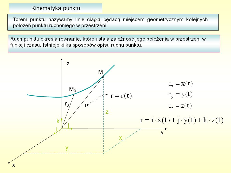 Kinematyka punktu Torem punktu nazywamy linię ciągłą będącą miejscem geometrycznym kolejnych położeń punktu ruchomego w przestrzeni x y z x y z r r0r0 i j k M0M0 M