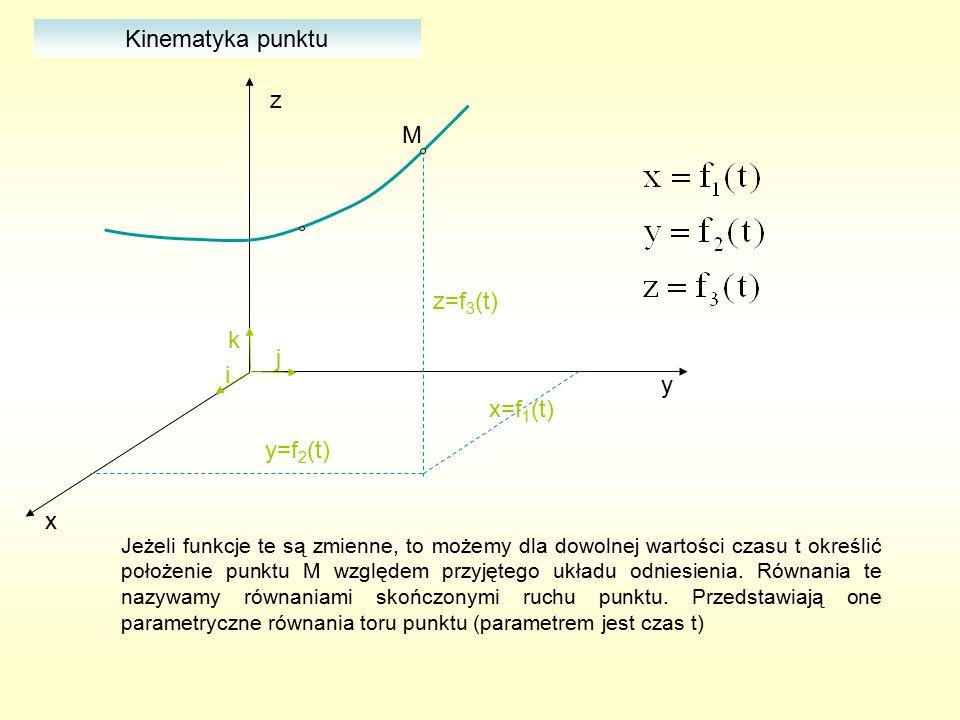 y x z x=f 1 (t) y=f 2 (t) z=f 3 (t) i j k M Jeżeli funkcje te są zmienne, to możemy dla dowolnej wartości czasu t określić położenie punktu M względem przyjętego układu odniesienia.